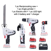 NEWONE 12V power tool set Angle grinder Electric drill Electric Saw and Led light with three lithium battery and one charger