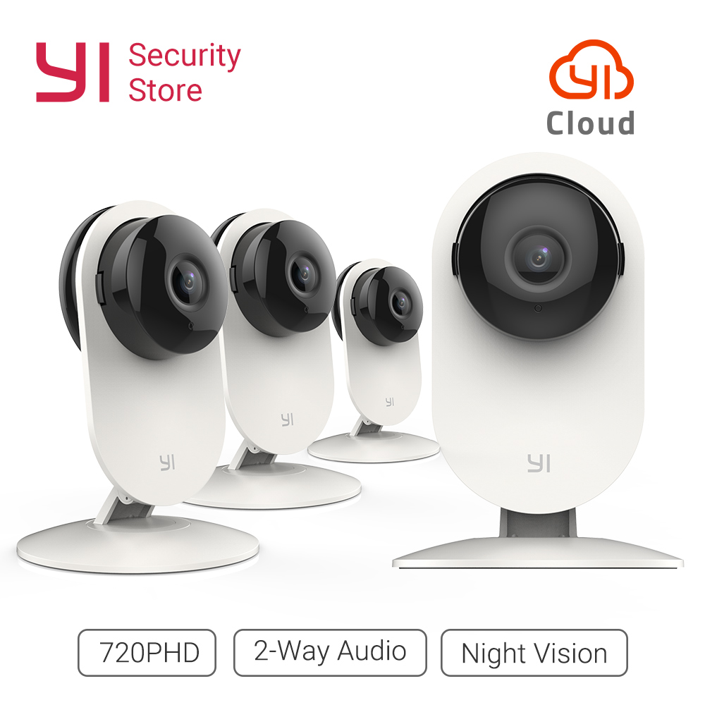 YI 4 pc Accueil Caméra 720 p Sans Fil IP Home Security Système de Surveillance de la Vision Nocturne Baby Monitor Animaux YI nuage WiFi Réseau
