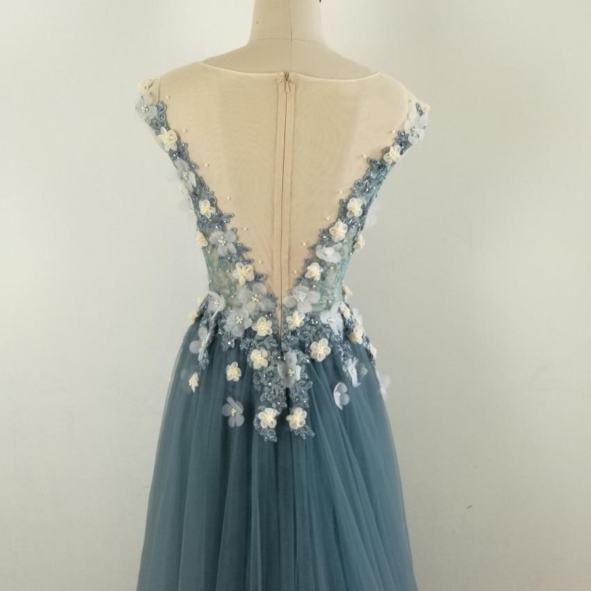 Echte foto Formele lange mouwen jurk Zie door Back Beading bloemen - Jurken voor bijzondere gelegenheden - Foto 6