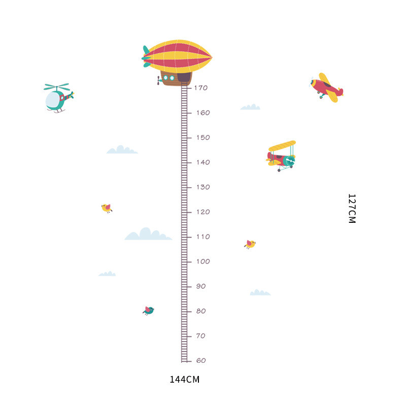 1PCS Cartoon Airplanes Birds Height Measure Wall Stickers Kids Adhesive Mural For Baby Boy Room Nursery Home Decor 30 90CM in Wall Stickers from Home Garden