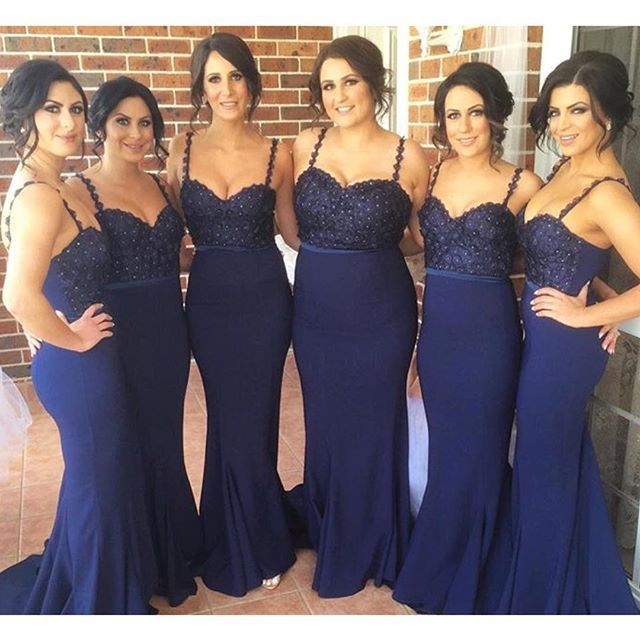 cb4305f1ea7 Fitted Mermaid Style Navy Blue Bridesmaid Dresses 2016 Spaghetti Strap  Beaded Lace Long Bridesmaid Dress Wedding Party Gowns