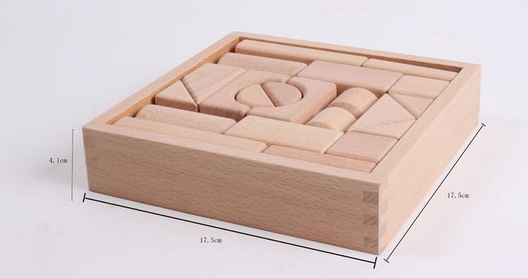 22 PCS koka log bloki Izglītības bērni klasiskās rotaļlietas lielie gabali koka celtniecības bloki rotaļlietas, bērnu izglītojoši bloki rotaļlietas
