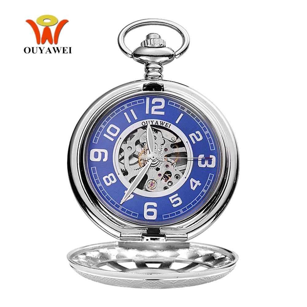 Reloj Masculino Fashion Luxury OYW Mechanical Hand Wind Pocket Watch Men Pendant Watch Full Steel Case Pocket Fob Watch Relogio