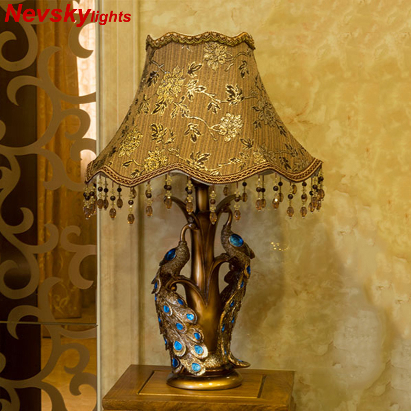 European style desk lamps living room peacock stand table lamp bedroom table fixtures home decor bedside