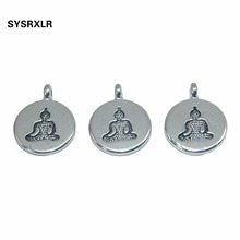 Wholesale 20/40 PCS 15 MM Round Buddha Metal Zinc Alloy Charms Yoga DIY Pendant Bracelet Necklace Earring For Jewelry Making stylish cobra style zinc alloy earring brass 2 pcs