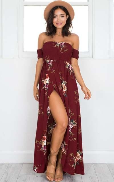 0bae5ab1b1 Boho style long dress women Off shoulder beach summer dresses Floral print  Vintage chiffon white maxi