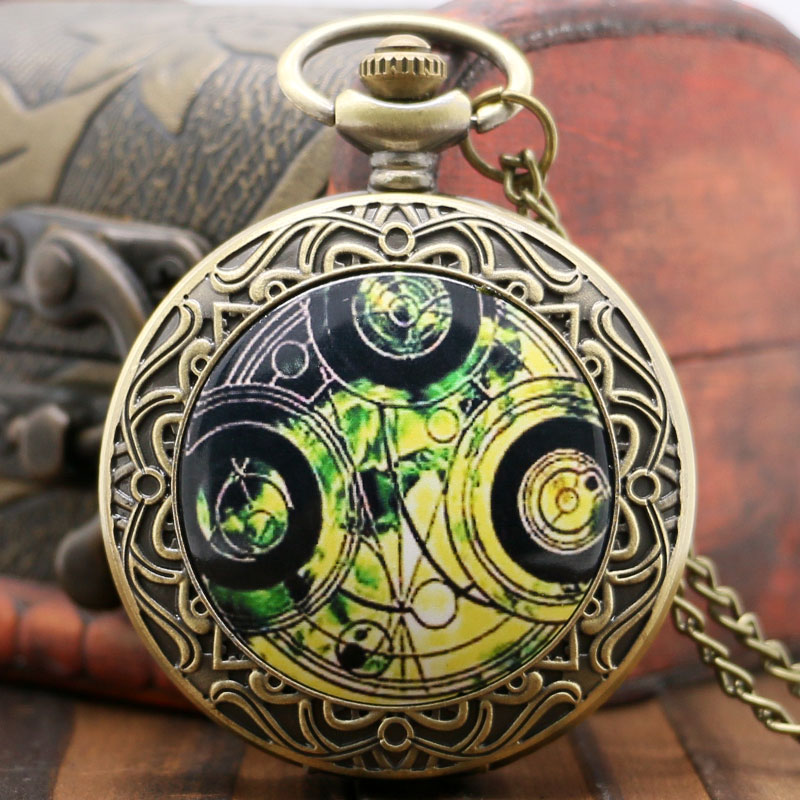 Old Retro Bronze Pocket Watch Doctor Who Design Quartz Fob Watch With Chain Necklace lover pocket watch antique bronze turkish flag design moon and star theme quartz pocket watch with necklace chain gift ll 17