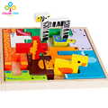 Kids Creative Toys Wooden Cartoon Animals Puzzle Cute 3D Puzzle Learning Educational Toys Gifts For Children
