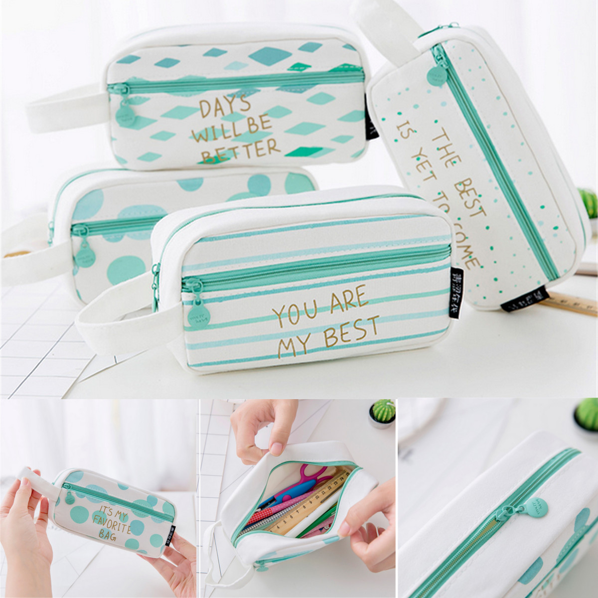Large Capacity Canvas Pencil Case Bag Pens Storage Box Pouch Stationery Makeup Cosmetic Bag Organizer 4 Patterns Optional 18X9cm