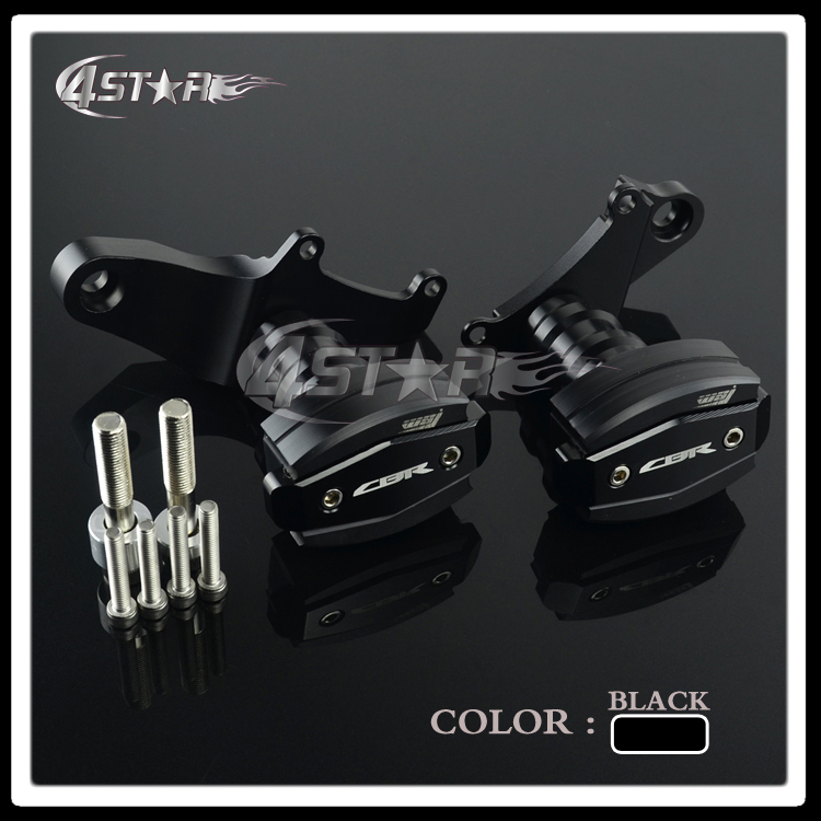 Black Billet Motorcycle Frame Crash Pads Engine Case Sliders Falling Protector For CBR CBR500R 2014 2015 2016 Free Shipping