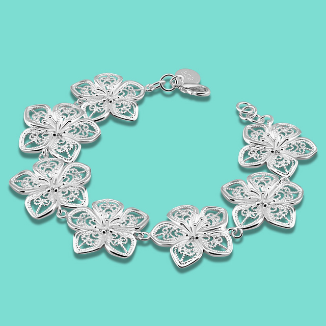 New Girl 925 Sterling Silver Bracelet Beautiful Flower Design Solid