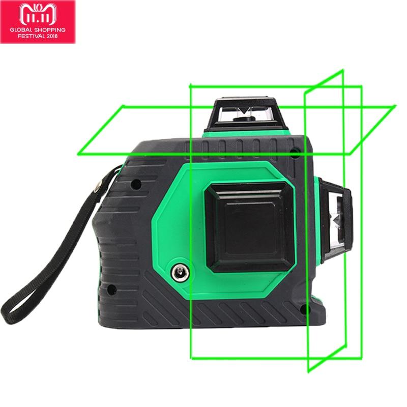Xeast 12 lines Verde fascio 3D Rotativo da 360 gradi Della Parete Multi croce Linea di Auto di Auto-Livellamento Laser misuratore di Livello macchina utensile