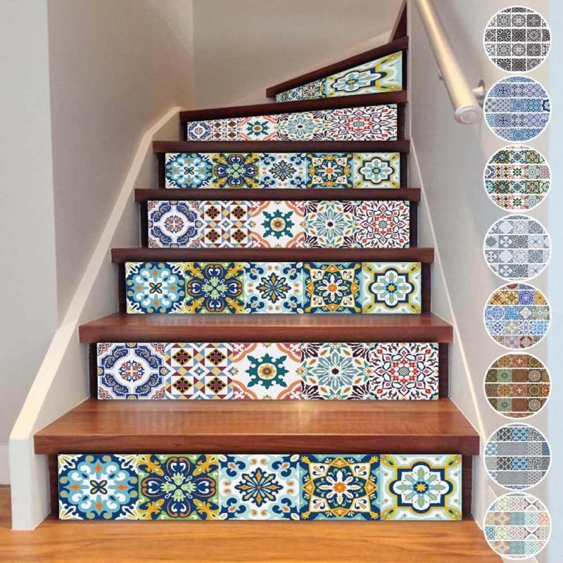 Diy 3d stairway stickers ceramic tile sticker for room for Jaula de la escalera de color idea