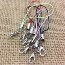 50Pcs Silver Gold Color Cell Phone Black Lanyard Cords Strap Lariat Mobile with Lobster Clasp DIY Jewelry Finding Accessory Z849