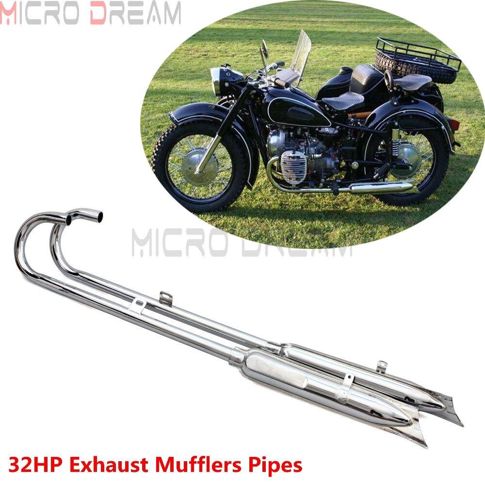Moto 32HP Chrome avant et arrière queue de poisson d'échappement silencieux tuyaux rétro 750cc silencieux pour BMW K750 M1 M72 R71 R12 Ural Sidecar