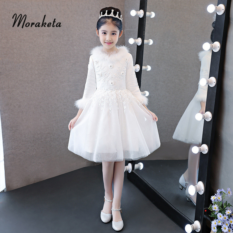 2019 Winter Long Sleeves Gall Gown White Flower Girl Dresses For Wedding Feather Appliques Short First Communion Dresses For Gir