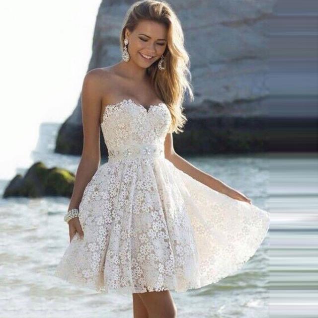 JAEDEN Uma Linha Acima Do Joelho Off The Shoulder Lace Cristal Vestidos de Festa Verão 2017 EC073 Querida Neck Mini Vestidos do Regresso A Casa