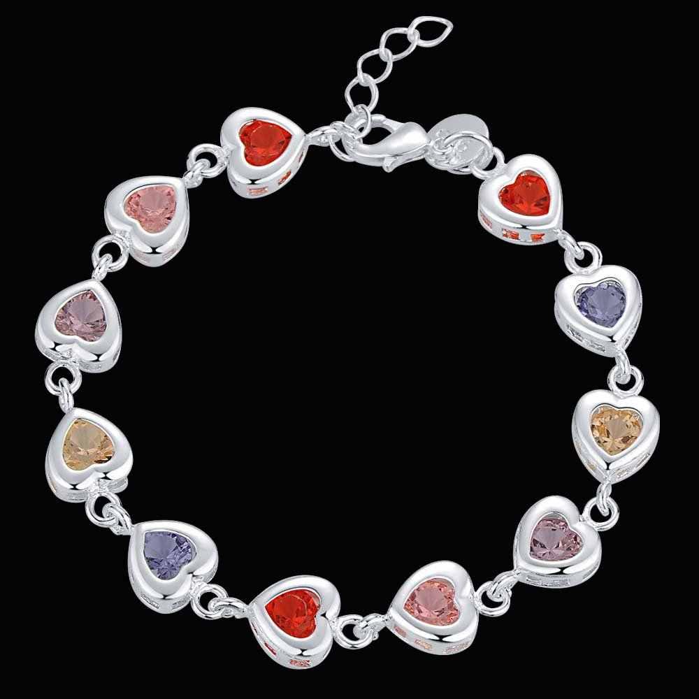 Najlepsza sprzedaż walentynki prezent błyszczące CZ cyrkon kryształ w kształcie serca w kształcie serca prawdziwe 925 srebro bransoletka dla kobiety biżuteria