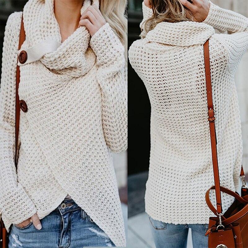 RüCksichtsvoll Herbst Winter Frauen Casual Warme Pullover Lange-sleeve Elastische Unregelmäßigen Pullover Weibliche Pullover Rollkragen Gestrickte Pullover Pullover Pullover