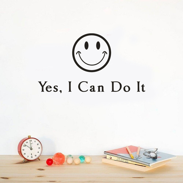 Ga06 Smiley Vinyl Removable Wall Stickers I Can Do It English Quotes