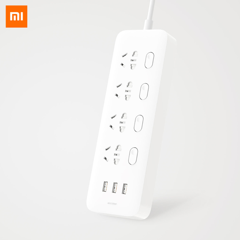 Original Xiaomi Mijia Power Socket Strip With Power Switch 3 USB 2A Fast Charging Adapter Mi Extension Socket Plug EU US UK AU original xiaomi power strip smart home electronics fast charging 3 usb 2 0 interface extension socket plug with eu uk au adapter