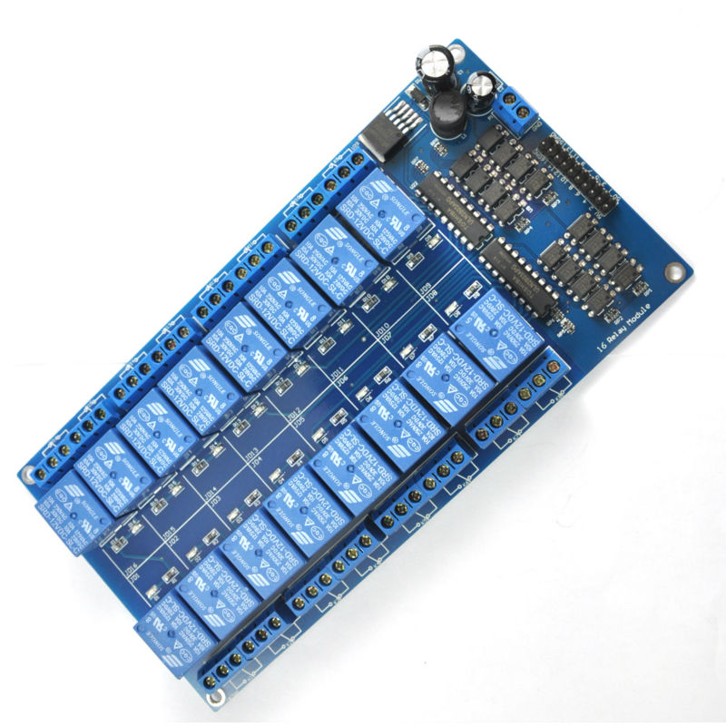16 Channel Relay Module 12V  Interface Board For Arduino PIC ARM DSP PLC  With Optocoupler Protection LM2576 Power
