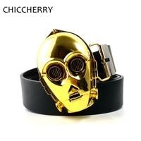 Male Novelty 130cm PU Leather Belts Movie Star Wars C 3PO Gold Metal Belt Buckles 3D