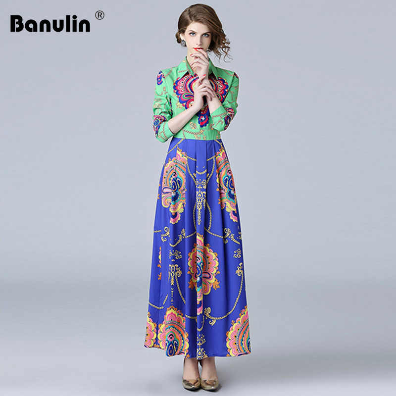e619144bcffa Banulin High Quality 2018 Autumn Full Sleeve Vintage Long Shirt Dress  Floral Print Runway Designer Women