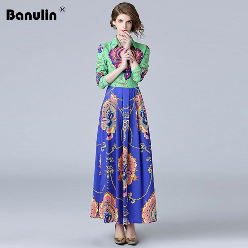 96acfd24b5d Banulin высокое качество осень 2018 г. длинный рукав Винтаж длинная рубашка  платье цветочный принт взлетно посадочной полосы дизайнер для женщи