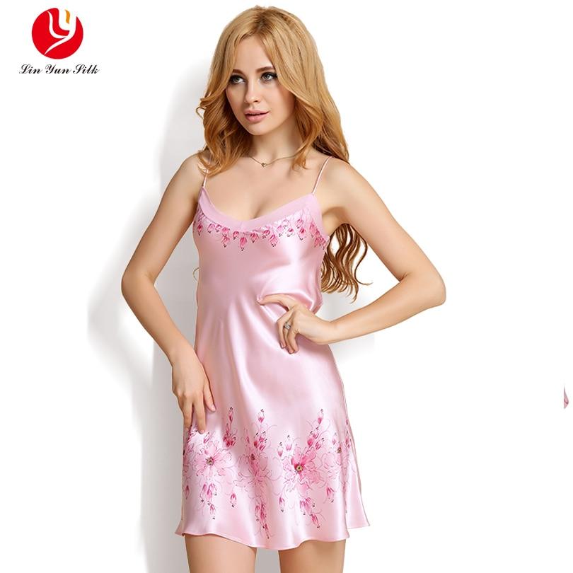 LIN YUN Pink Nightgowns Women Sleepshirts Real Silk Sleep Clothing ...