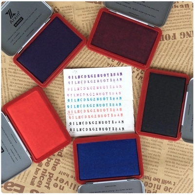 Quick Drying Stamp Pad Purple Blue Black Red Green Yellow Stamp Pad For Financial Affairs And Bank