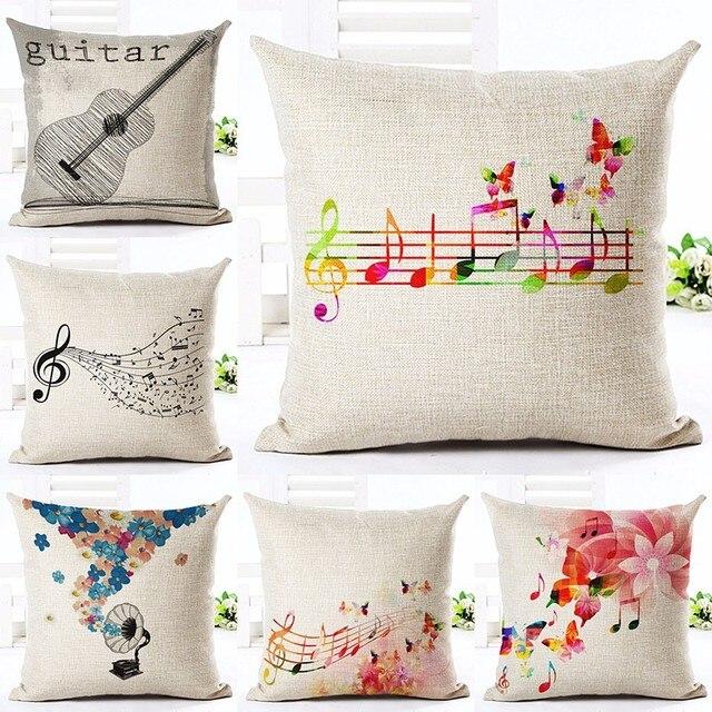 Frohe Weihnachten Musik.Us 4 99 Neue Leinen Baumwolle Kissen Frohe Weihnachten Blumen Musik Hinweis Gedruckt Kissen Hause Dekorative Couch Benutzerdefinierte
