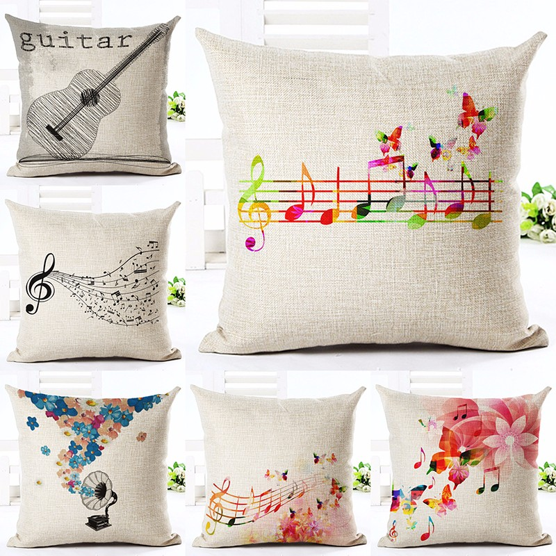 New Linen Cotton Cushion Merry Christmas Floral Music Note Printed Pillow  Home Decorative Couch Custom Pillowcase