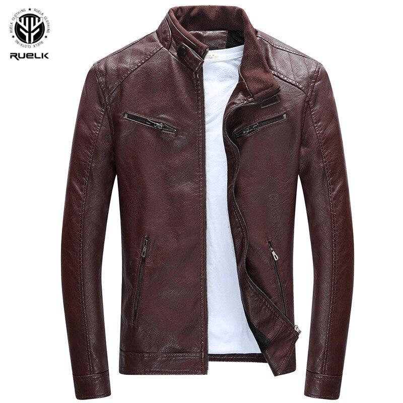 RUELK 2018 Leather Jacket Men Coats 3XL Brand High Quality PU Outerwear Men Business Winter Faux Fur Male Jacket Fleece