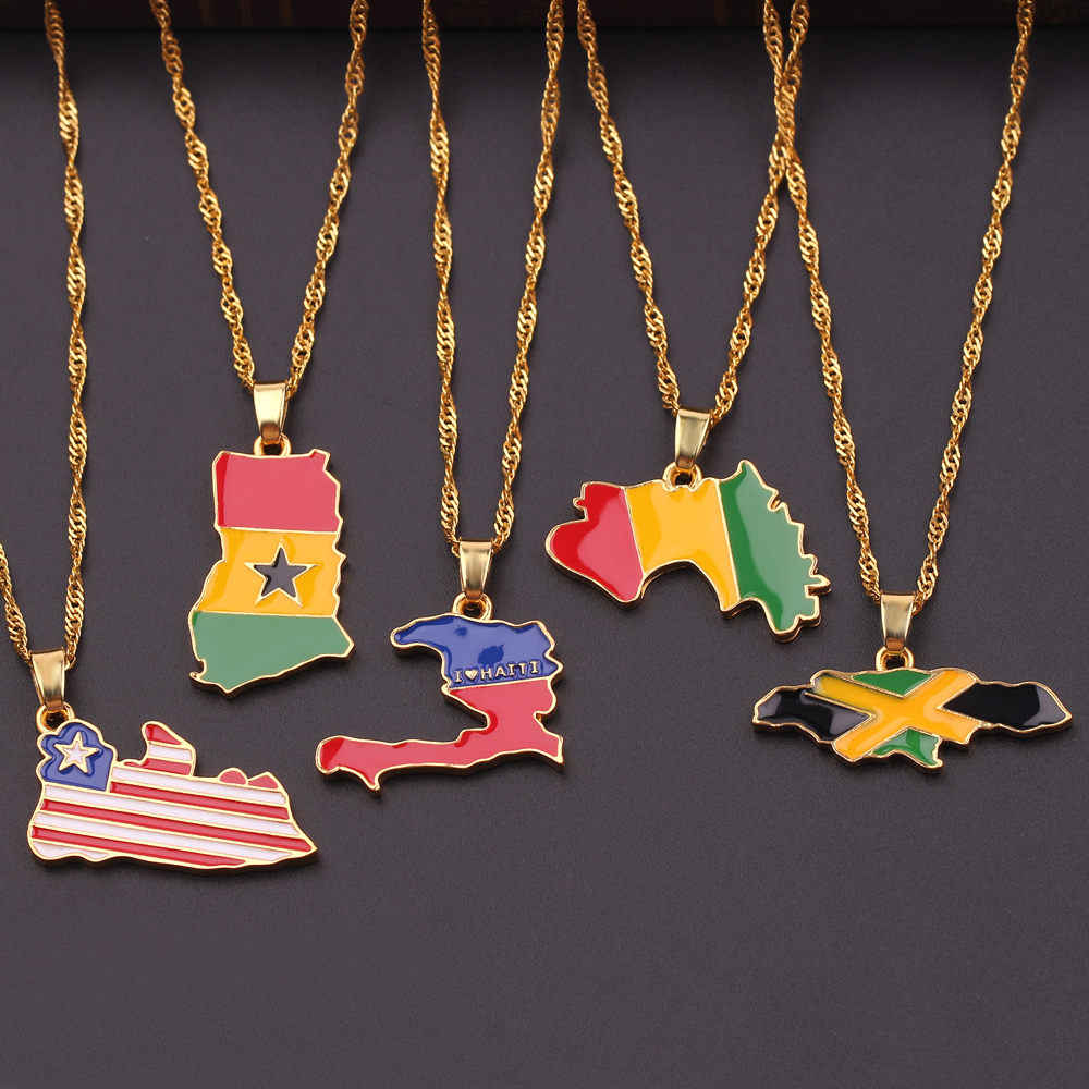 NEW Country Map Flag Necklace Africa Guinea Ghana Liberia Undersea Jamaica South Africa Congo Honduras Pendant Chain Man Jewelry