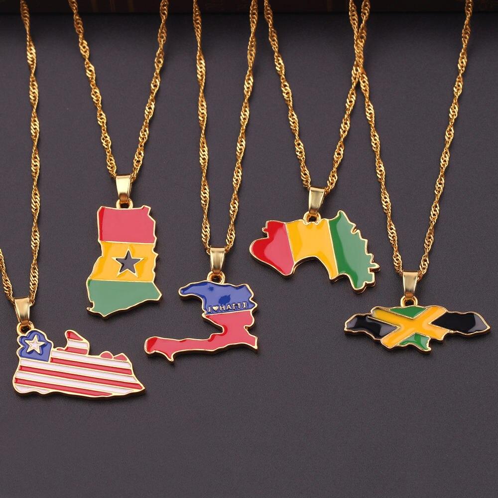Novo país mapa bandeira colar áfrica guiné gana libéria undersea jamaica áfrica do sul congo honduras pingente corrente homem jóias