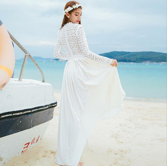 df91b49503a For Women Chiffon Lace Dress Spring and Autumn Style Hot Sale Stand Collar  White Hollow-out Long Sleeve Women Long Formal Dress