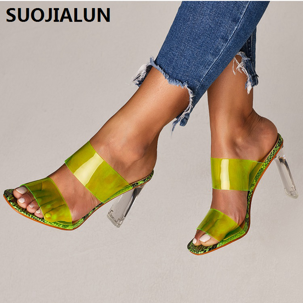 2019 Serpentine Transparent Sandals Open Toes High Heel Crystal Women 39 s Shoes PVC Transparent High Heels 11cm Shoes in High Heels from Shoes