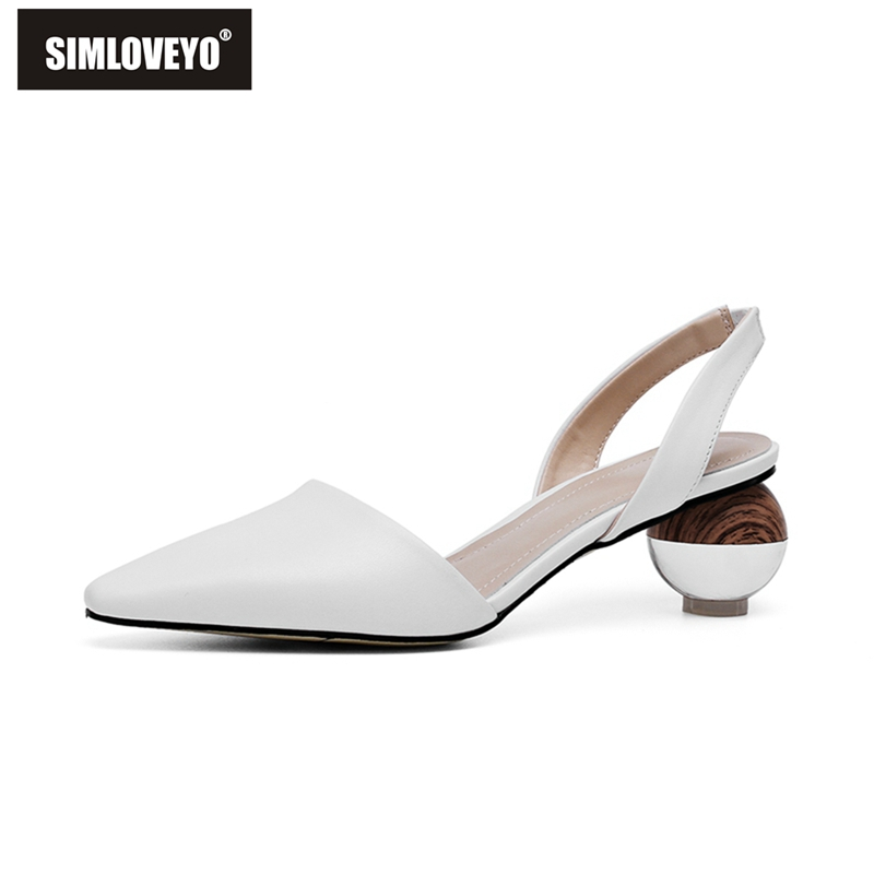 SIMLOVEYO Unique Ball Heel Sandals Back Strap Pointed Toe Black Genuine Leather Women Party Summer Slip