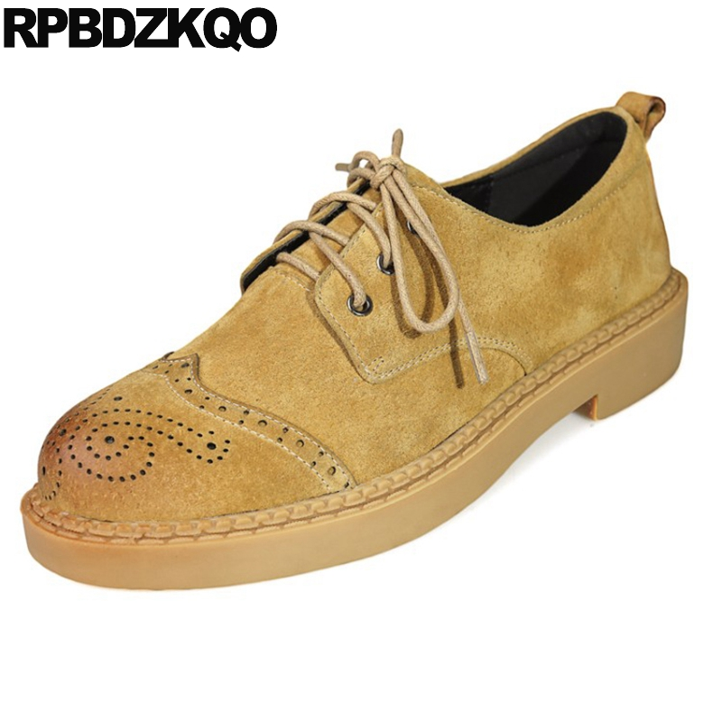 Ladies Retro Flats Suede Vintage Women Oxfords Shoes Size 41 2017 42 British Style Large Yellow Round Toe Lace Up Brogue Coffee 33 45 size women genuine leather oxford shoes fashion round toe lace up flat ladies england style brogue oxfords for women d005