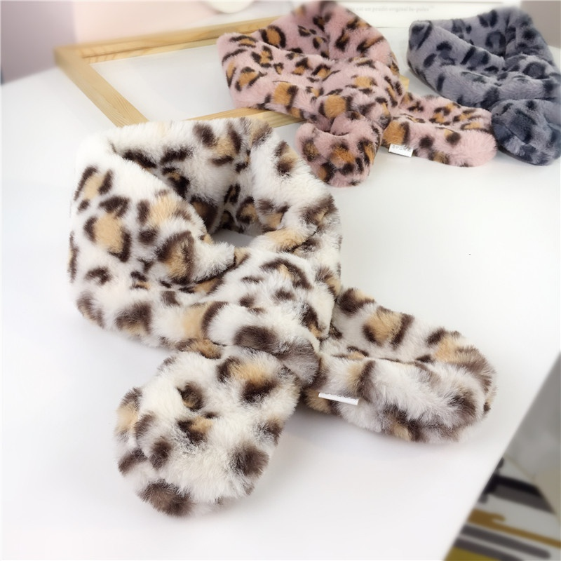 Winter New Children's Clothes Korean Leopard Scarf Warm Scarf Fashion Girls Cross Plush Scarf Baby Accessories