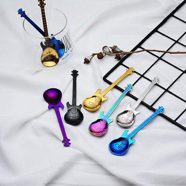 Guitar Shaped Stainless Steel Tea Spoons Set