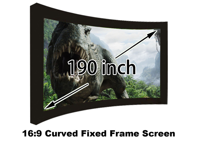 Full HD 190 inch 16:9 Curved Fixed Frame Front Projection Screen With 1.2 Gain 3D Cinema Projector Screens hd projector projection screen 300inch 16 9 format outdoor fast folding frame screens for camping music party