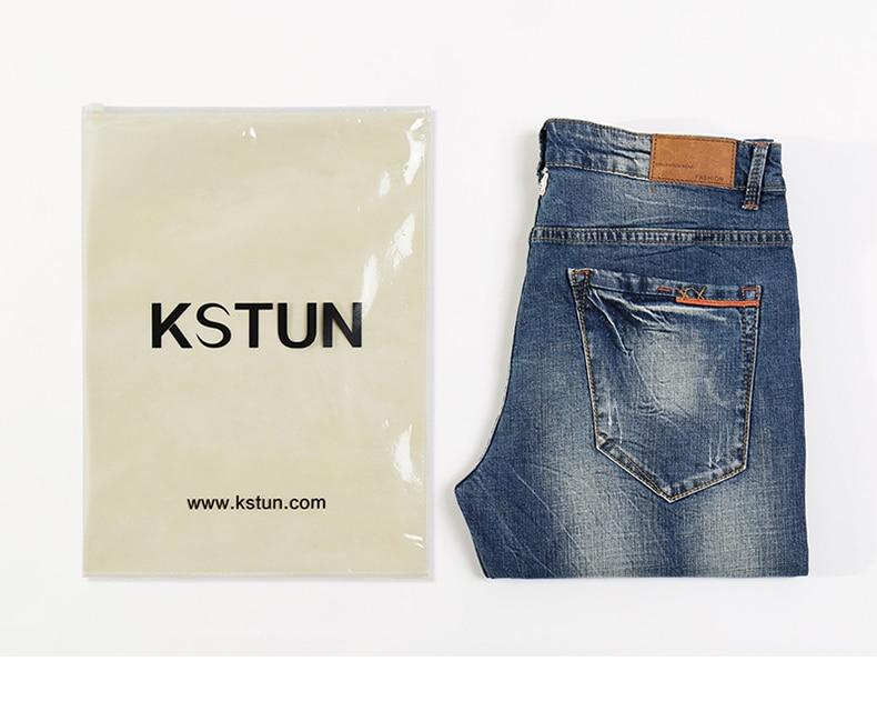 KSTUN Fashion Jeans for Men Slim Straight Blue Stretch Distressed Men's Clothes Trousers Yong Man Casual Pants Cowboys Jean Hombre 38 20