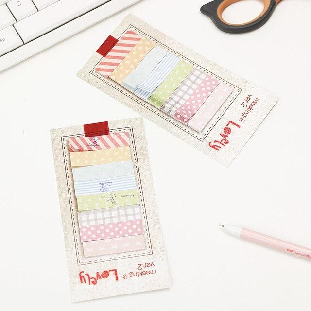 3 Pçs/lote 160 Páginas Kawaii Scrapbooking Papelaria Coréia Etiqueta Bookmark Bandeiras Memo Tab Livro Único Marcador Sticky Notes