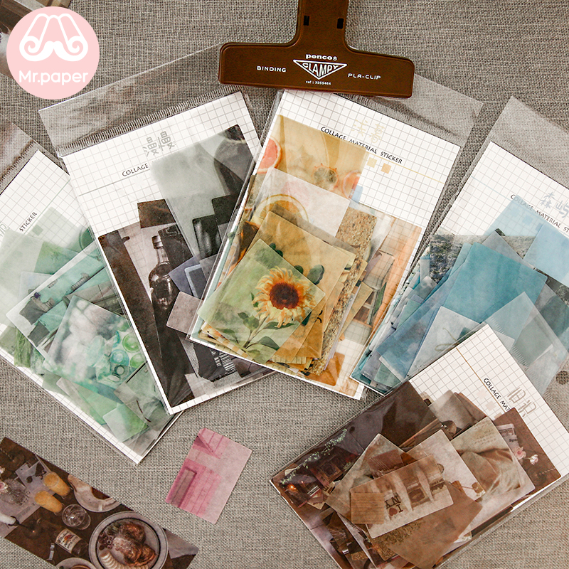 Mr.paper 8 Designs 70Pcs/lot Ins Style Artsy Photos Deco Stickers Scrapbooking Bullet Journal Popular Deco Stationery Stickers