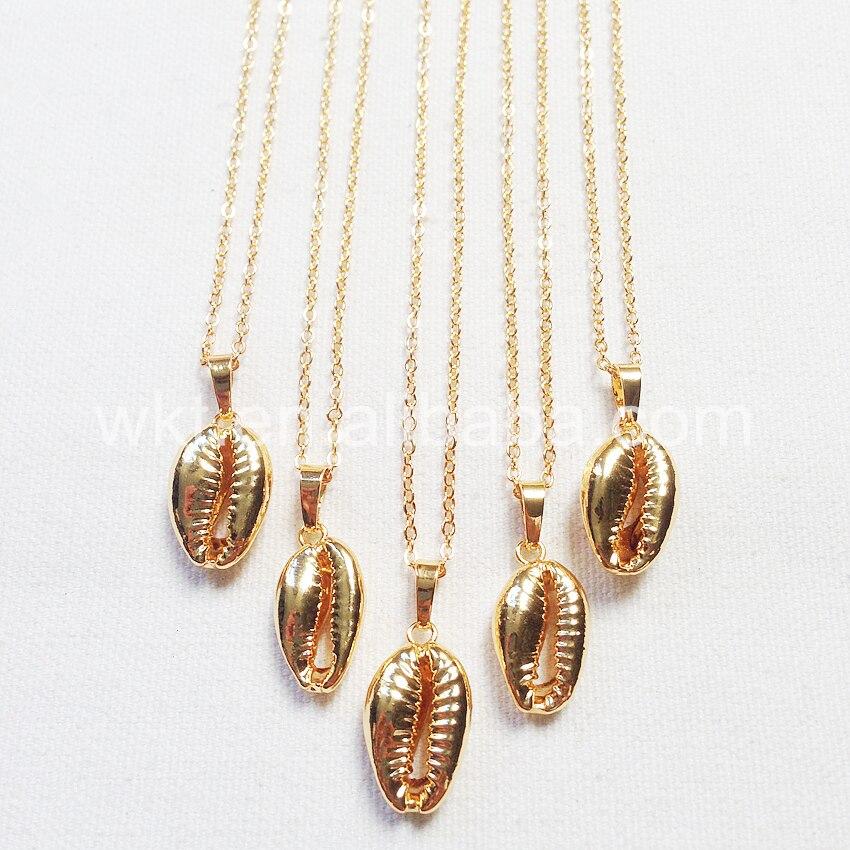 WT-JN002 Dernière or Cauris Coquille Pendentif Bijoux naturel coquille cauris pendentif en or plaqué or chaîne collier