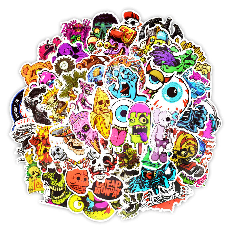 Image 2 - 50Pcs Mixed Cool Skull Vinyl Computer Stickers Spoof Horror Waterproof Sticker For Laptop Suitcase Car Phone Decoration  Decals-in Laptop Skins from Computer & Office