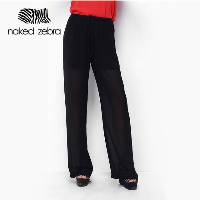 Naked zebra mujer pantalones de gasa doble perspectiva material de cordón  pantalones largos de trabajo de a5372df16ca7
