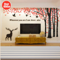 2 Pattern Multi Pieces Tree Flower Deer Birds 3D Acrylic Decoration Wall Sticker DIY Wall Poster Home Decor Bedroom Wallstick